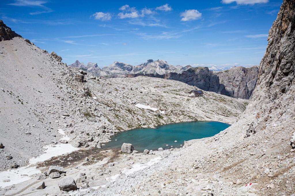 Vue sur le lac de Pisciadù