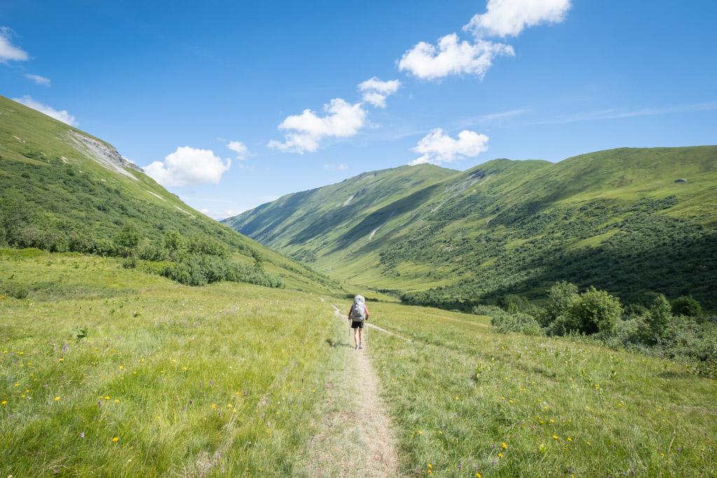 Via Alpina - Dans la descente de la vallée nous conduisant à Gstaad